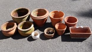 Selection of terracotta garden planters