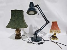 Black anglepoise lamp, a brass coloured small table lamp and a small silver-coloured metal table