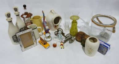 Assorted stoneware ceramics, a model of a glass eagle, assorted collectables, model of a