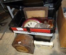 Vintage style railway wall clock, pair of binoculars, a Roberts Gemini 49 digital portable radio,