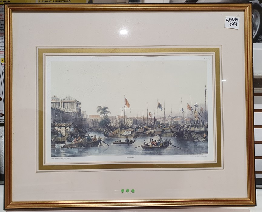 After Porget Lithograph scene of Hong Kong together with twofurther (3) - Image 3 of 4