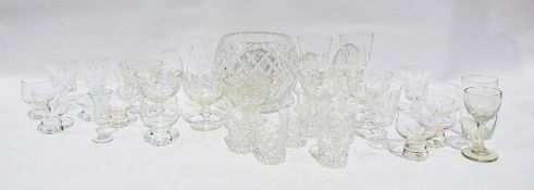 Selection of glasswareto include cut glass wines, rose bowl, advertising tumblers including Haig