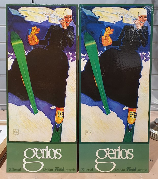 Colour print after Egon Schiele1913, one further similar and two 1970s small Gerlos ski posters( - Image 2 of 5