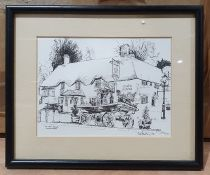 Quantity of framed prints to include street scenes, flowers etc.