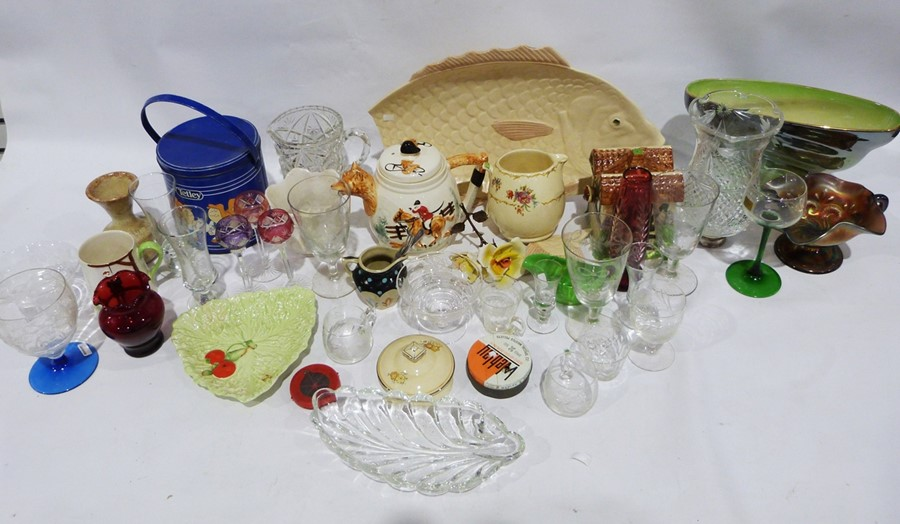 Assorted cut glass to include rose bowls, a flower basket, ashtray, assorted ceramics to include a