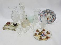 Quantity of assorted ceramics to include Creamware style ribbon plates, assorted glassware, wines,
