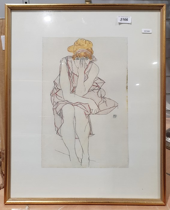 Colour print after Egon Schiele1913, one further similar and two 1970s small Gerlos ski posters(