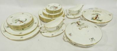 """Royal Worcester part dinner service """"Watteau"""" to include six soup bowls, six side plates, six fish"""