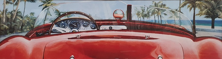 Colour prints Ferrari dashboard and steering wheel and another showing the back of the car and