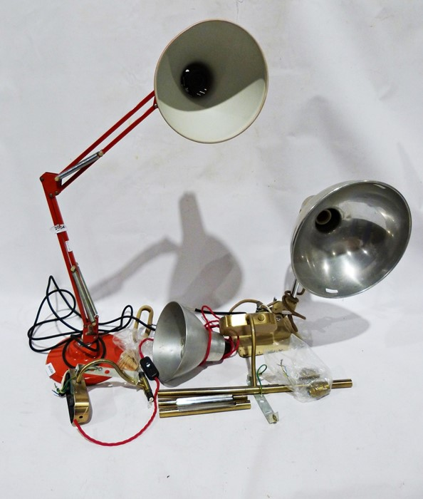 Pair of brass coloured picture lamps, red anglepoise lamp, a vintage heat lamp and a 'clip-on'