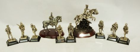 Quantity of Royal Hampshire Art Foundry silver coloured metal figures of assorted regiments and