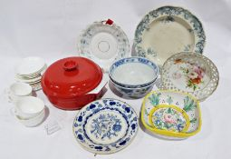 Red ceramic Emile Henry casserole dish, various bowls, large petty cash box, small tin box, a