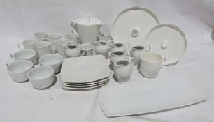 Seven boxes of assorted ceramics to include white M & S and Andante Square, ceramic mugs,