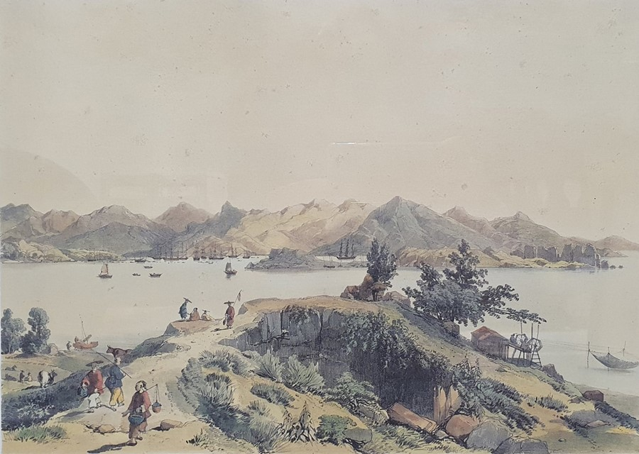 After Porget Lithograph scene of Hong Kong together with twofurther (3)