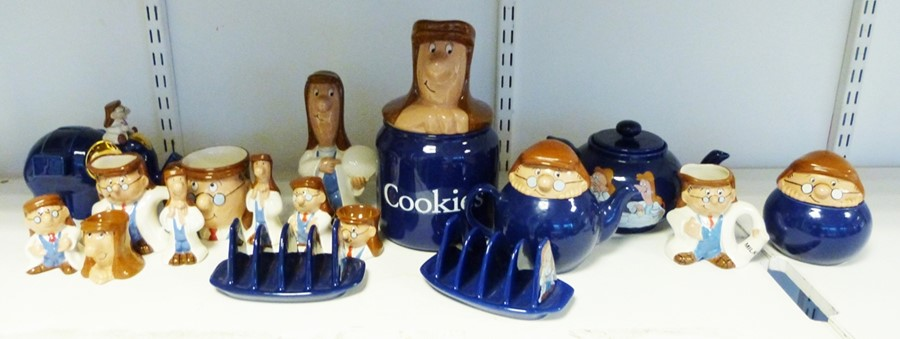 Tetley storage jars, money boxes, mugs, figurines, salt and peppers etc. (1 box)