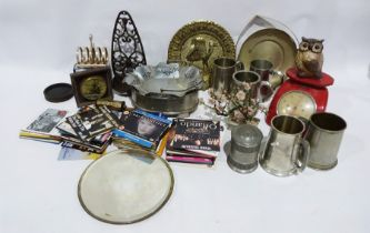 Assorted white dinnerware, assorted collectables, pewter tankards, etc (3 boxes)