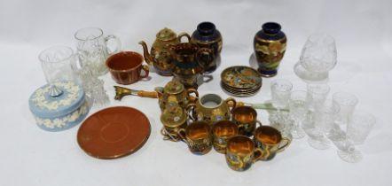 Faux-bamboo shoe horn, bargeware jug, Satsuma-style vases, Satsuma-style tea serviceto include