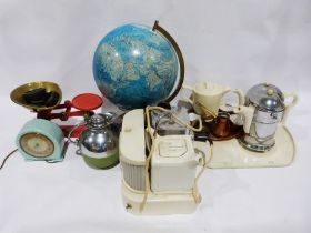 Weighing scaleswith weights, a light-up globe lamp, a 1930's coffee pot, hot water jug and