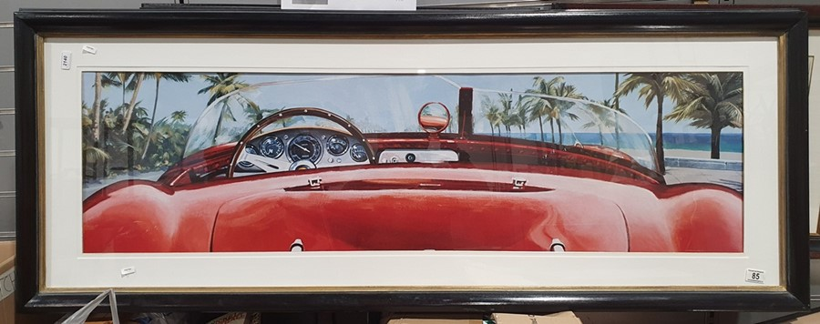Colour prints Ferrari dashboard and steering wheel and another showing the back of the car and - Image 2 of 4