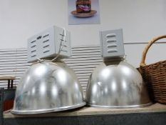 Pair of industrial ceiling lights with electrical fittings and aluminium domes