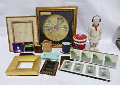 Assorted collectables, a ceramic biscuit barrel, celebrating Hong Kong Independence and two frames
