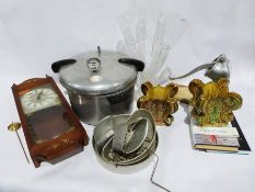 Vintage Presto pressure cooker with accessories, a vintage mincer, a pair of vases shaped as trees,