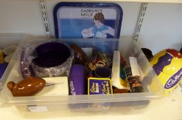 Collection of Cadbury's items to include stoneware jugs, clocks, money boxes, cups, a Cadbury's