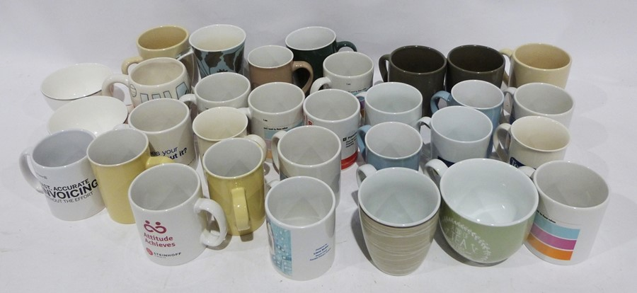 Seven boxes of assorted ceramics to include white M & S and Andante Square, ceramic mugs, - Image 3 of 7