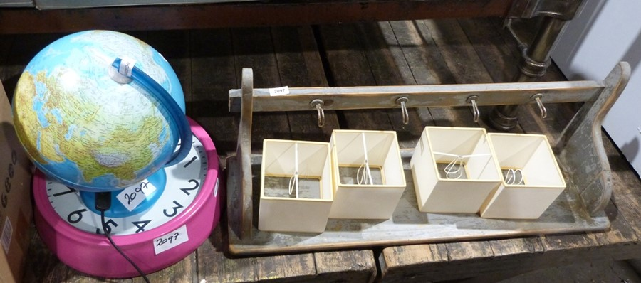 Box of hanging parasols weight set x 4 (unused in original plastic casing), a light-up globe, a - Image 4 of 4