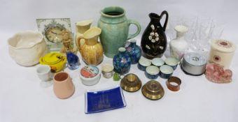 Assorted collectables, ceramics, a clock, ornaments,a knife boxand a small portable deed box