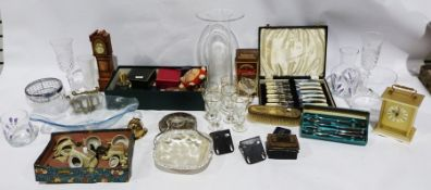 Vintage toys to include a spinning top, a slinky, a globe, cigarette cards, Etch-a-Sketch in