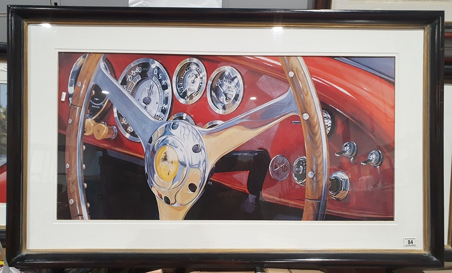 Colour prints Ferrari dashboard and steering wheel and another showing the back of the car and - Image 4 of 4