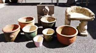 Selection of terracotta and ceramic garden planters,reconstituted stone garden ornament, a