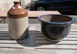 Large ceramic garden planter and an earthenware flagon