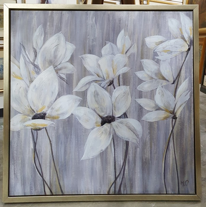 Contemporary textured print, flowers in white and silver 91cm x 91cm - Image 2 of 3
