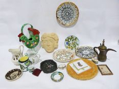 Copeland Spode 'Chelsea Birds' jug, a metal hen decorative item, a garden wall maskof a woman, a