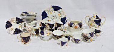 Gaudy Welsh part tea service, cups, saucers, teapot, cake plates, tea plates, etc. and assorted
