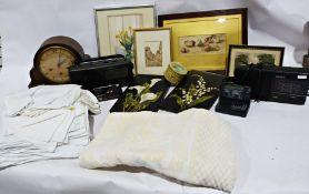 Assorted linen, boxes, tins, framed prints etc (1 box)