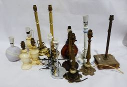 Assorted table lamps to include a pair of alabaster, ceramics, a glass Armagnac Napoleon Brandy