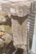 Stone bird bath, with square top and dished centre, on column and base, 92cm high