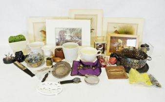 Three boxes of assorted china and glass items to include Royal Doulton 'Yorktown' pattern part tea