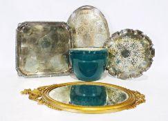 Assorted plated items, a modern mirrorand a ceramic jardiniere