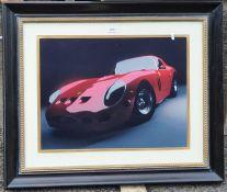 Colour print Ferrari, 73 x 86cm to include the frame, ebonised wood with gilt bubble slip