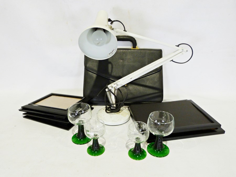 Box of various glass and household items to include a modern white painted anglepoise lamp, modern