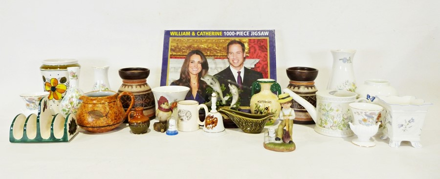 Four boxes of assorted china and glasswareto include Aynsley 'Wild Tudor' vase, Jersey pottery