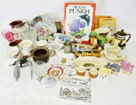 Box of assorted china, glassware and household items to include a Hornsea vase in the form of a tree