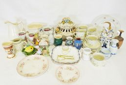 Box of assorted decorative and household china items to include a pair of Aynsley serving plates,