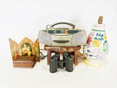 Poole pottery table lamp, a small oak stool, a Roberts tape player, etc