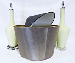 Pair of modern green glass table lamps (2) Condition ReportSome marking and wear to metal parts.