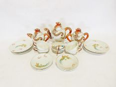 Two boxes of various china itemsto include a modern Japanese part tea service, a Merrythought teddy